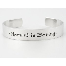 Stamped Aluminum Jewelry Normal is Boring Cuff Bracelet