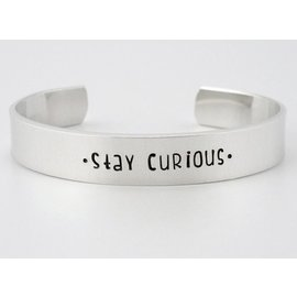 Stamped Aluminum Jewelry Stay Curious Cuff Bracelet