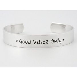 Stamped Aluminum Jewelry Good Vibes Only Cuff Bracelet