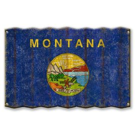 Metal Box Art Montana State Flag 18x30