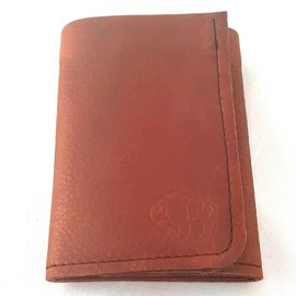 TLS Wallets Buffalo Leather Wallet - 3 pocket tri-fold Mahogany