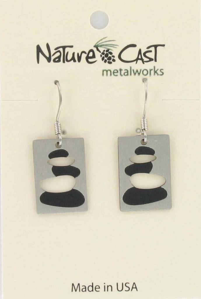 Nature Cast earring dangle cairn disc