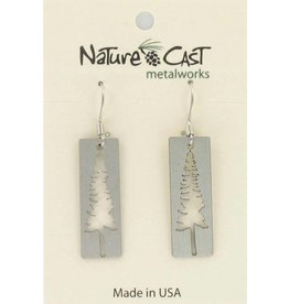 Nature Cast earring dangle cutout tree on disc