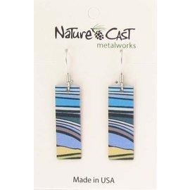 Nature Cast landscape stripes rectangle earring
