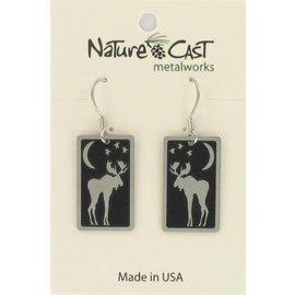 Nature Cast dangle moon moose earring