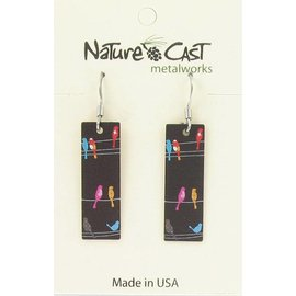 Nature Cast birds on wire dangle earring