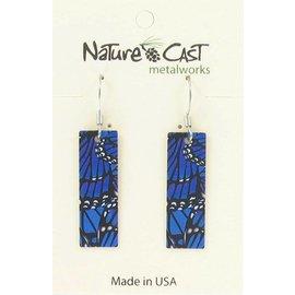 Nature Cast blue morphi butterfly wings dangle earring