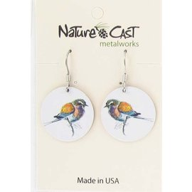 Nature Cast colorful bird on white dangle earring