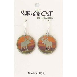 Nature Cast round moose with colorful background dangle earring
