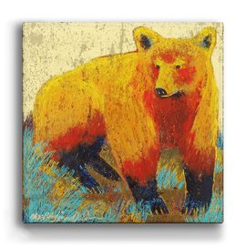 "Metal Box Art Little Miss Sunshine Golden Bear, Shelle Lindholm 18""X18""X3"" metal box art"
