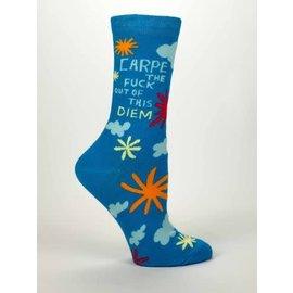 Blue Q Crew Sock - Carpe Diem