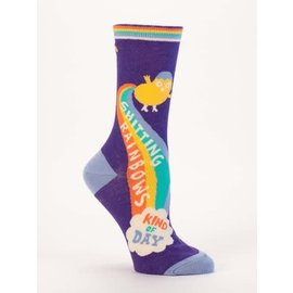 Blue Q Crew Sock - Shitting Rainbows
