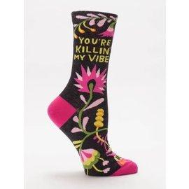 Blue Q crew sock - you're killin' my vibe