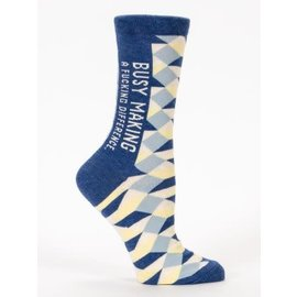 Blue Q CREW SOCK - BUSY MAKING A FUCKING DIFFERENCE
