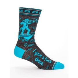 Blue Q Crew Sock -MEN'S I Gave a Fuck. Once