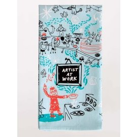 Blue Q Dishtowel - artist at work