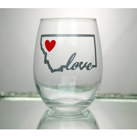 Perfectly Imperfect Wine Glass Montana heart with love