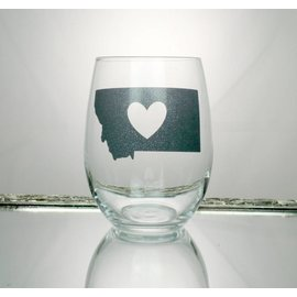 Perfectly Imperfect Wine Glass MT w/heart cutout silver