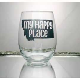 Perfectly Imperfect Wine Glass my happy place silver