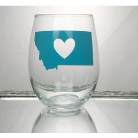 Perfectly Imperfect Wine Glass MT w/heart cutout turquoise
