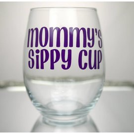 Perfectly Imperfect Wine Glass  Mommy's sippy cup Purple