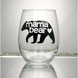 Perfectly Imperfect Wine Glass Mama bear Black