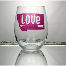 Perfectly Imperfect Wine Glass Montana love with arrow Pink