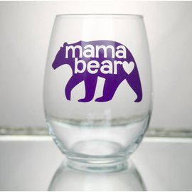 Perfectly Imperfect Wine Glass Mama bear Purple