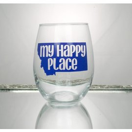 Perfectly Imperfect Wine Glass my happy place blue