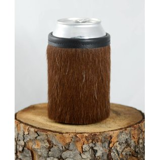 Red sky Designs Cowhide Can Koozie Brown