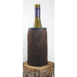 Red sky Designs Cowhide Wine Bottle Koozie Brown