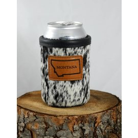 Red sky Designs Leather Montana on Cowhide Can Koozie Black&White