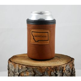Red sky Designs Leather Montana on Bison Can Koozie Tan