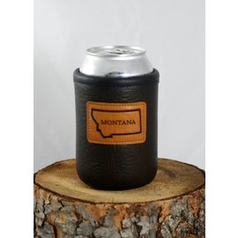 Red sky Designs Leather Montana on Bison Can Koozie Chocolate