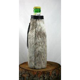 Red sky Designs Cowhide Beer Bottle Koozie Brown/White