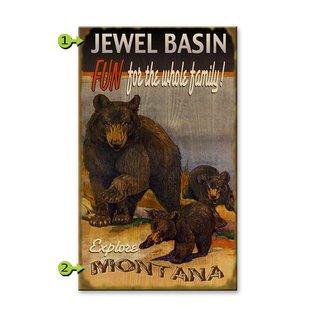 Metal Box Art Customizable Black Bears, Fun For the Family 18X30 Wood or Metal