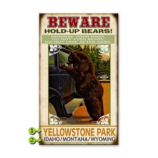 Metal Box Art Customizable Bear Safety 18X30 Wood or Metal