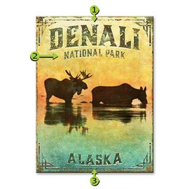 Metal Box Art Customizable, Moose in the Water Park 17X23, Metal or Wood