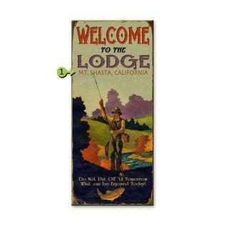 Metal Box Art Customizable, Welcome to the Lodge 10.5X24, Metal or Wood