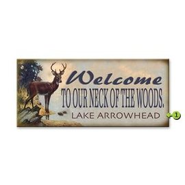 Metal Box Art Customizable, Welcome to Our Neck of the Woods 10.5X24, Metal or Wood