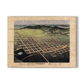 Metal Box Art VINTAGE MAP KALISPELL 23X31 WOOD Lisa Middleton