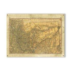 Metal Box Art Montana Wagon Trails Map 23x31 Metal