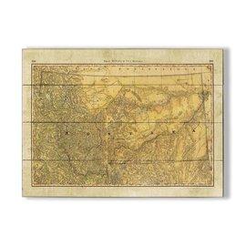 Metal Box Art Montana Wagon Trails Map 23x31 Wood