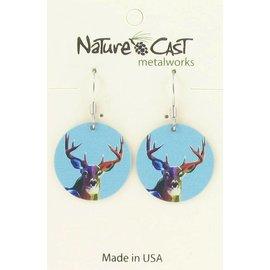 Nature Cast earring dangle colorful deer
