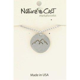 "Nature Cast pendant cutout silver mountains peaks 18"" chain silver"