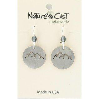 Nature Cast earring dangle silver cutout peaks