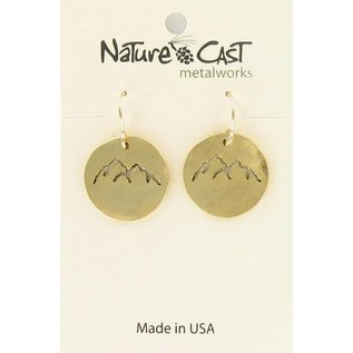 Nature Cast earring dangle gold cutout peaks