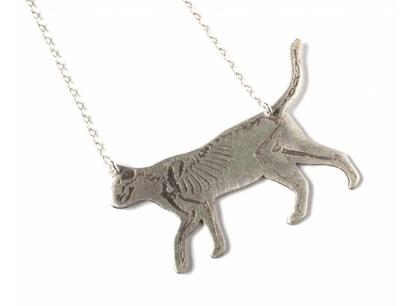 J. Topolski Skeleton Cat Necklace