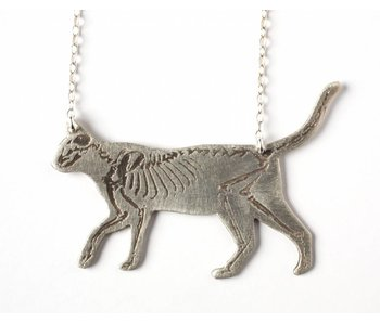 J. Topolski Skeleton Cat Necklace