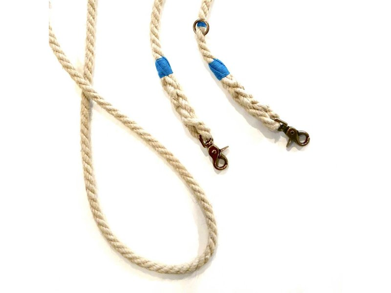Green Trout Adjustable Hemp Rope Lead, Blue